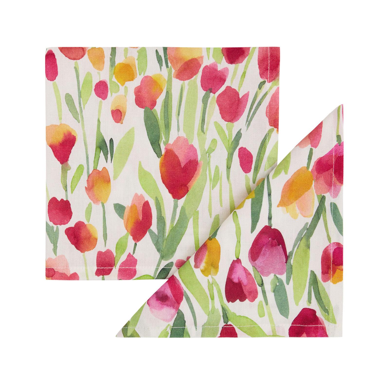 Set 2 tovaglioli puro cotone stampa tulipani