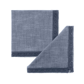 Iridescent cotton mélange napkin with lace