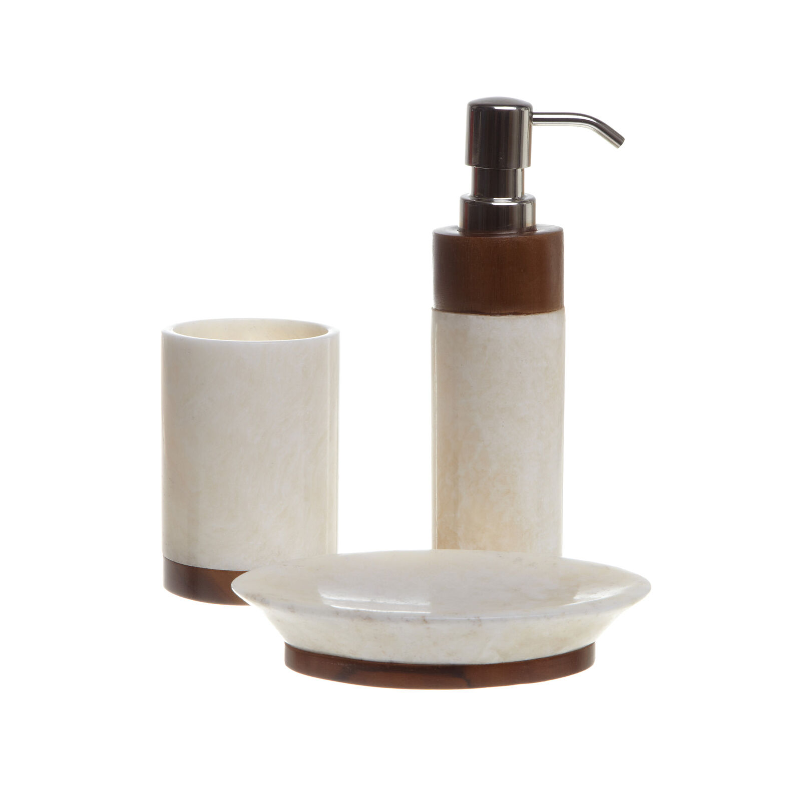 Teak and onyx bathroom set
