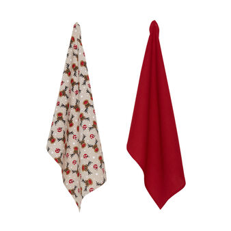 2-pack tea towels in 100% cotton with Rudolph print