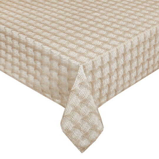 Geometric openwork and woven table cover with lurex