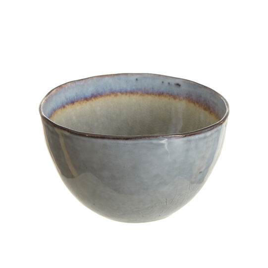 Small stoneware bowl with reactive glaze