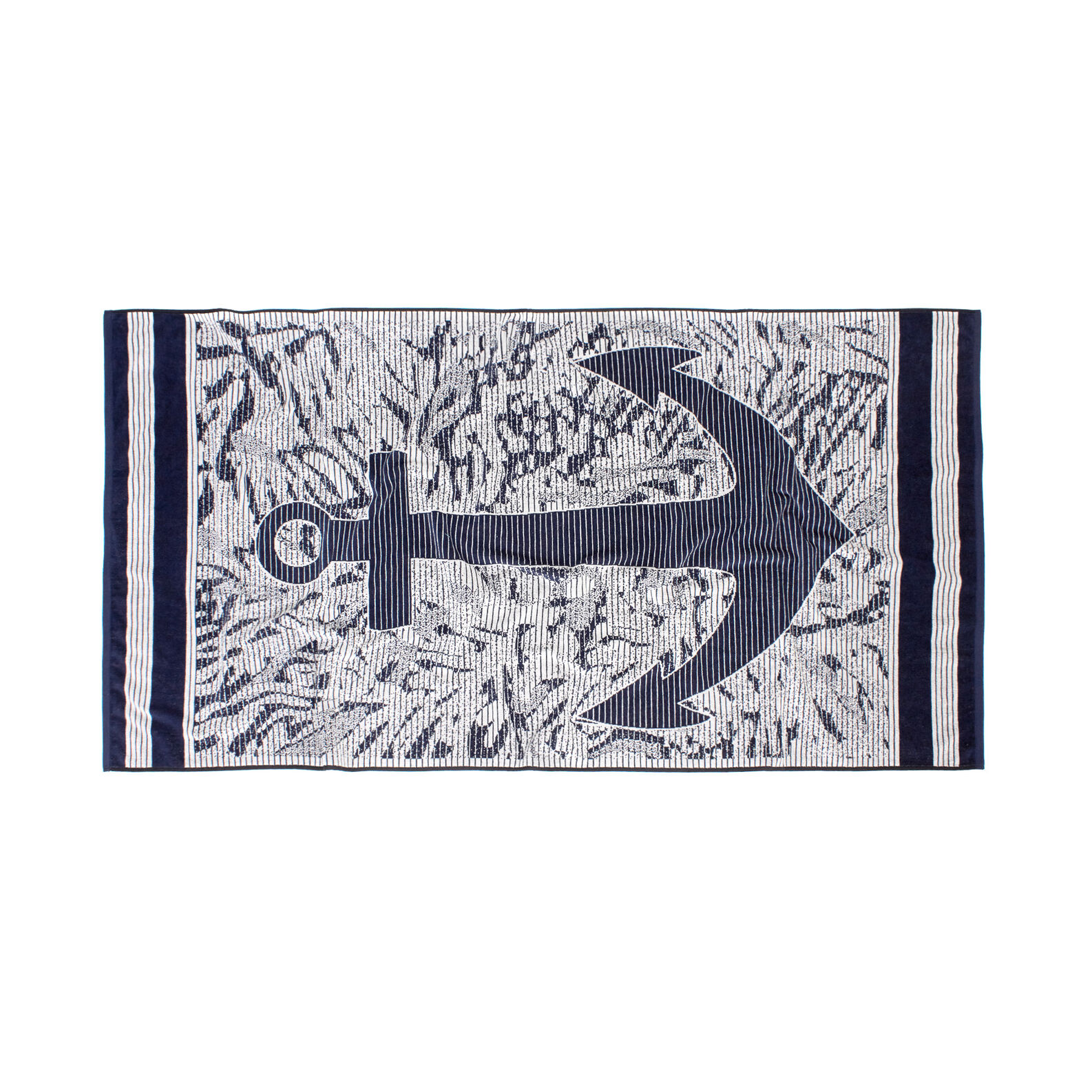Beach towel in 100% cotton velour with anchor motif