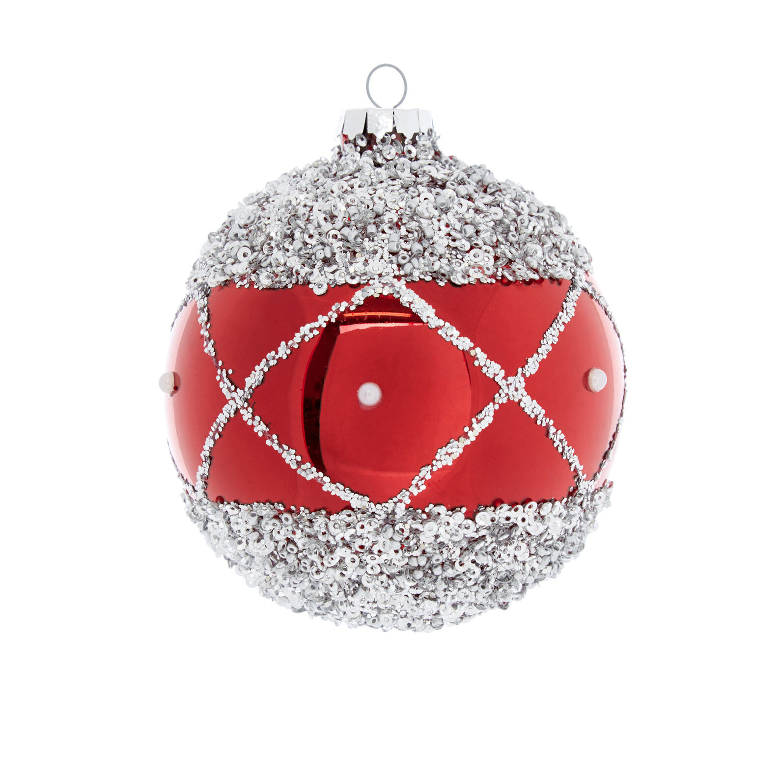 Hand-decorated bauble with crystals D8cm