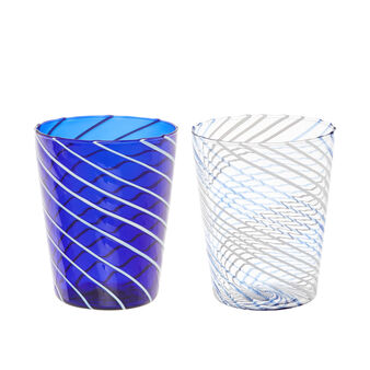 Bicchiere righe vetro borosilicato