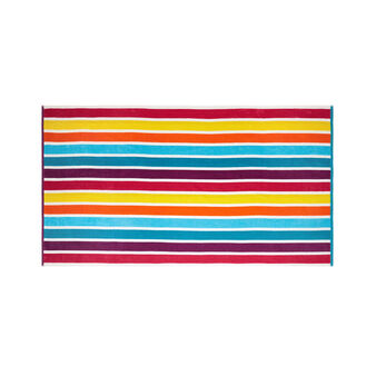 Striped velour cotton beach towel