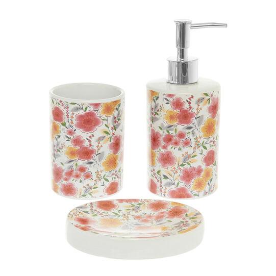 Set of 3 ceramic bathroom accessories with flowers motif