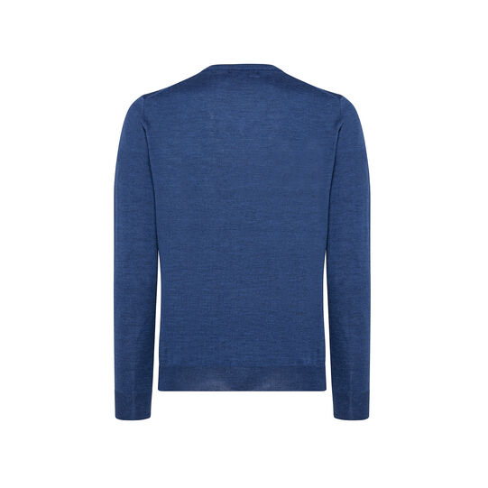 Extra-fine merino wool pullover with V neck