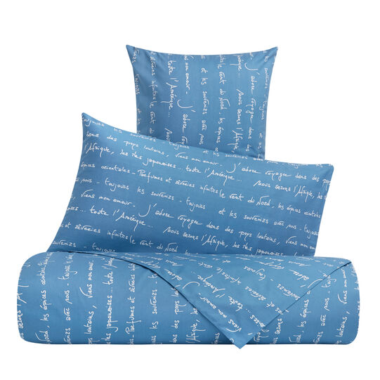 Cotton percale duvet cover set with poetry pattern