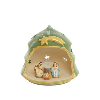 Presepe in terracotta c/tealight made in Italy