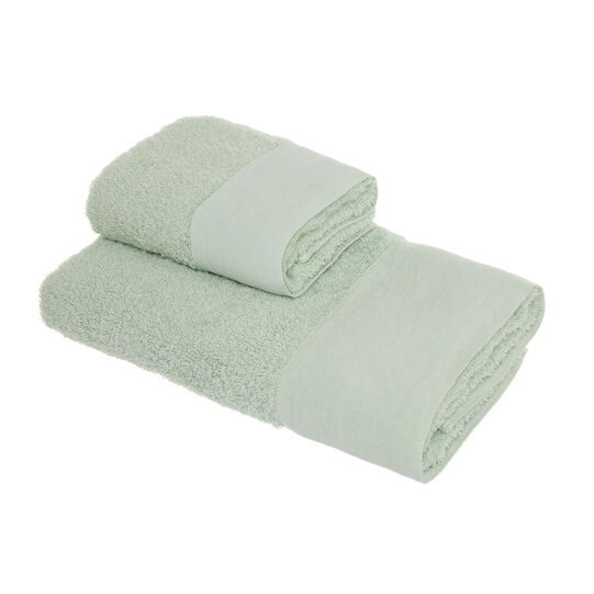 Set of 2 towels in 100% organic cotton with linen trim