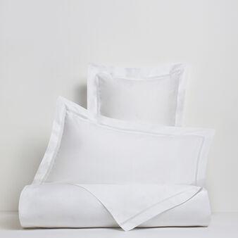 Portofino flat sheet in 100% cotton percale with drawn thread work