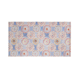 Cotton terry beach towel with mandala print