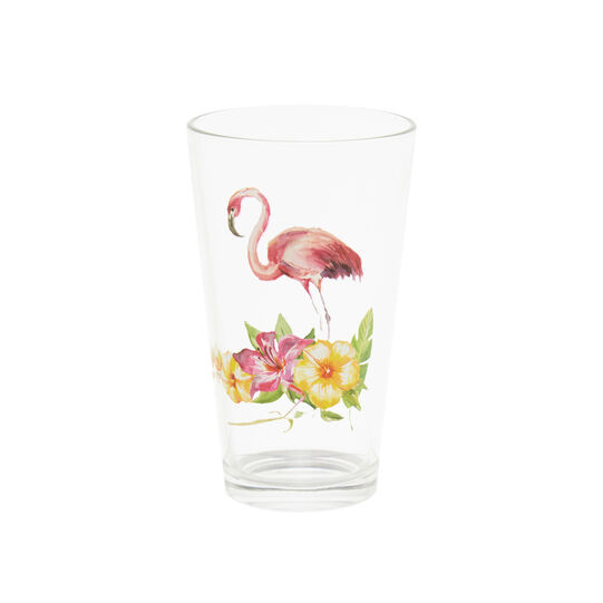 Drinking glass with flamingo decoration
