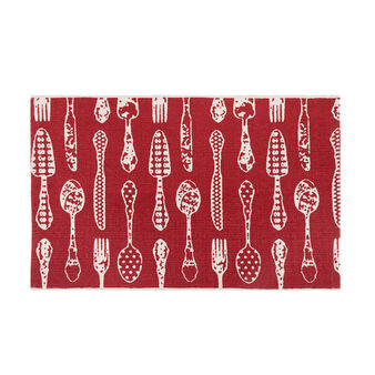 Hand-woven kitchen mat in cotton