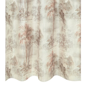 Cotton blend curtain with hidden loops and palms print