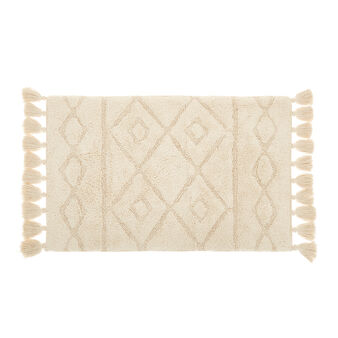 100% organic cotton bath mat with tassels