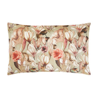 Cotton satin pillowcase with magnolia pattern