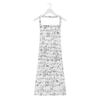 Kitchen apron in 100% cotton with musical notes print
