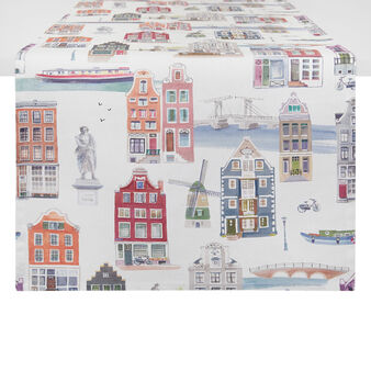 100% cotton table runner with Amsterdam print