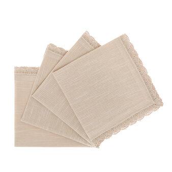 Set 4 tovaglioli puro cotone fiammato bordo in pizzo