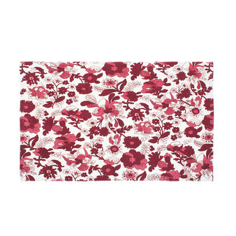 Cotton blend kitchen mat with floral print