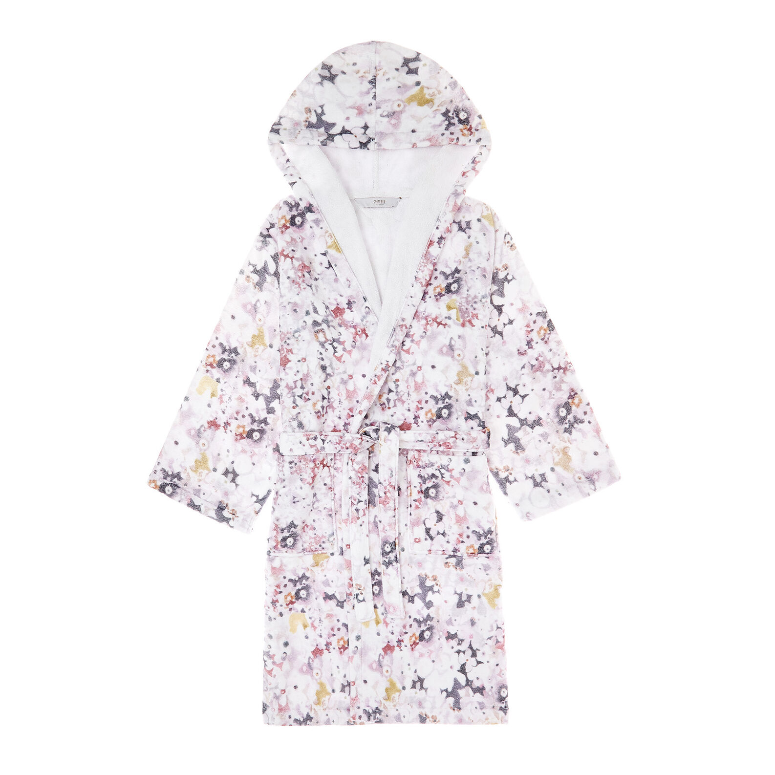 Bathrobe in 100% cotton velour with flowers print