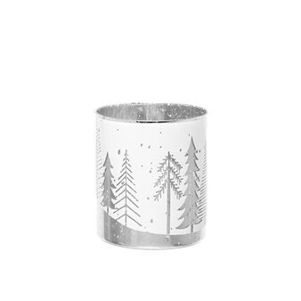 Glass votive candle holder with forest motif