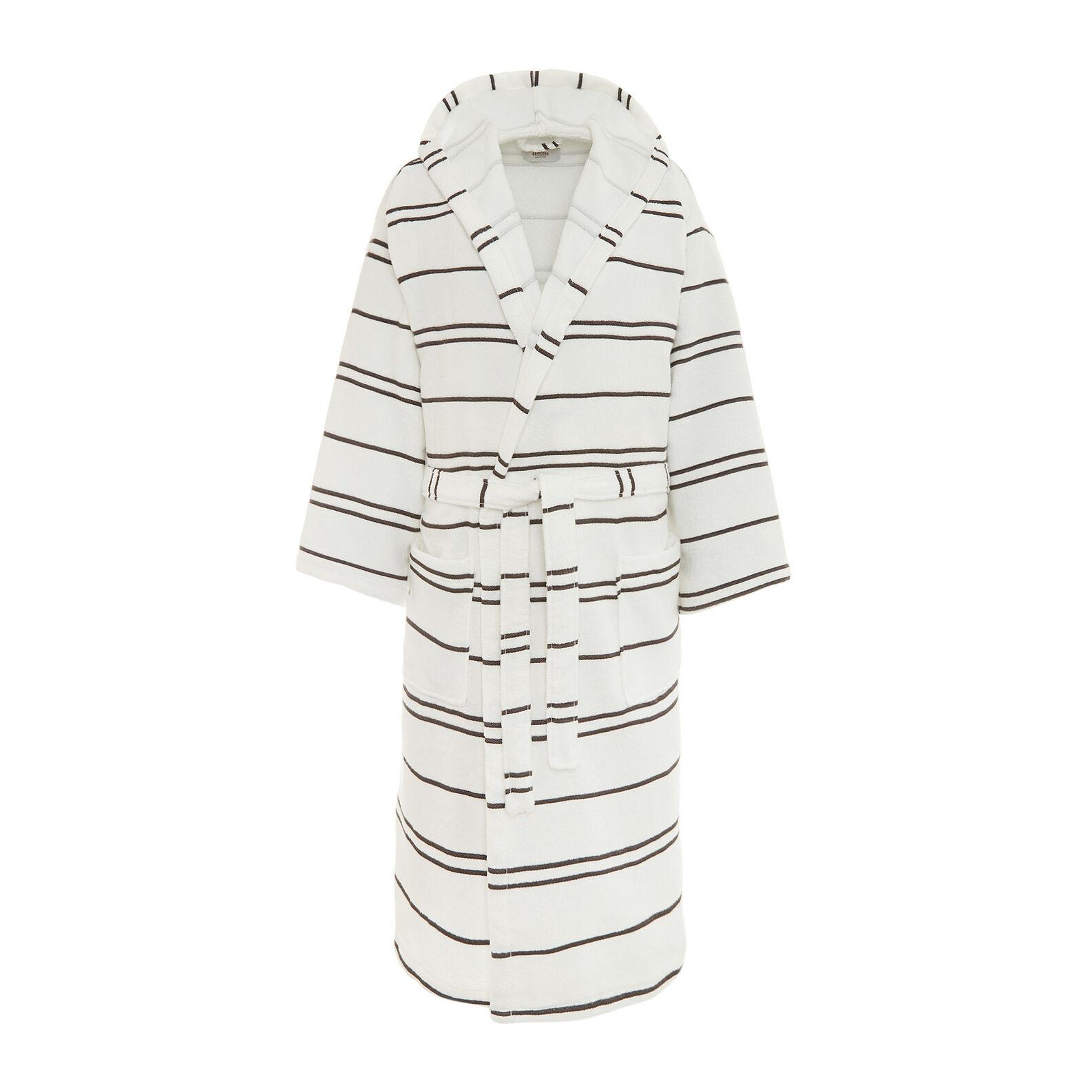 Fine-striped cotton terry bathrobe