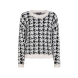 Houndstooth patterned teddy pullover