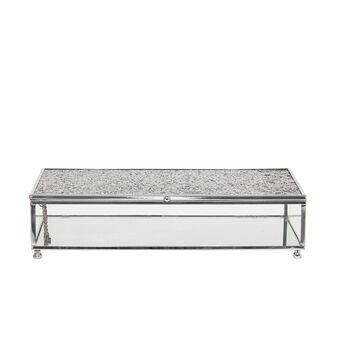 Glass jewellery box with glitter lid