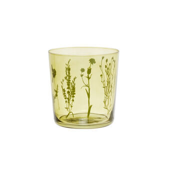 Glass tumbler with leaves decoration