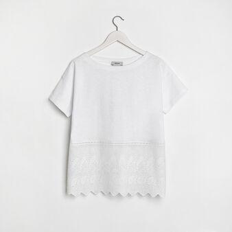 Cotton jersey t-shirt with lace appliqué