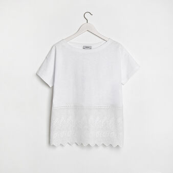 Cotton jersey t-shirt with lace appliqué