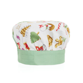 Children's cotton twill chef's hat with Christmas print by Sandra Jacobs design