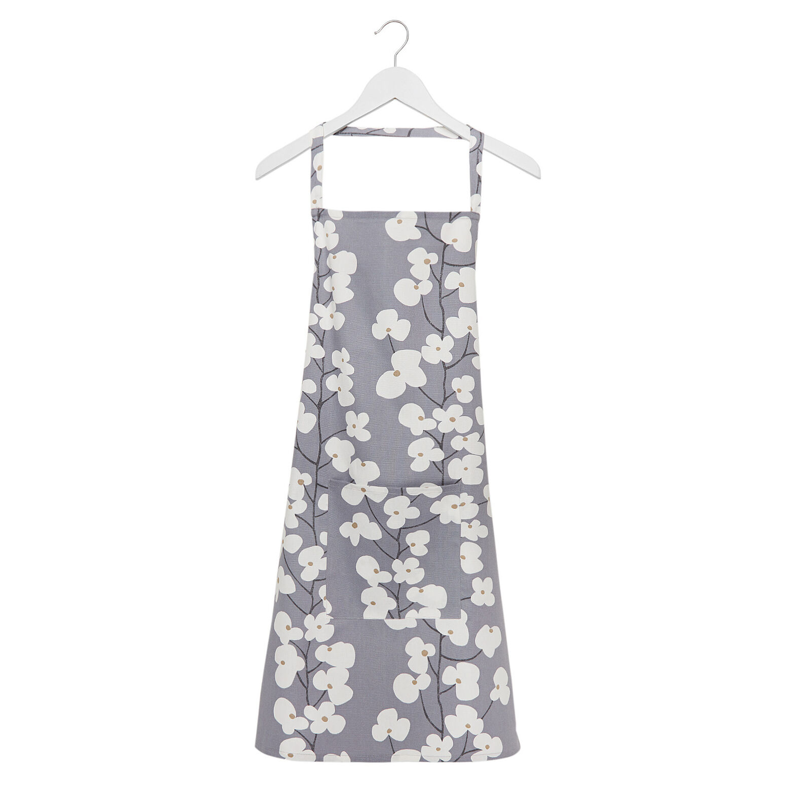 Cotton kitchen apron with flowers print