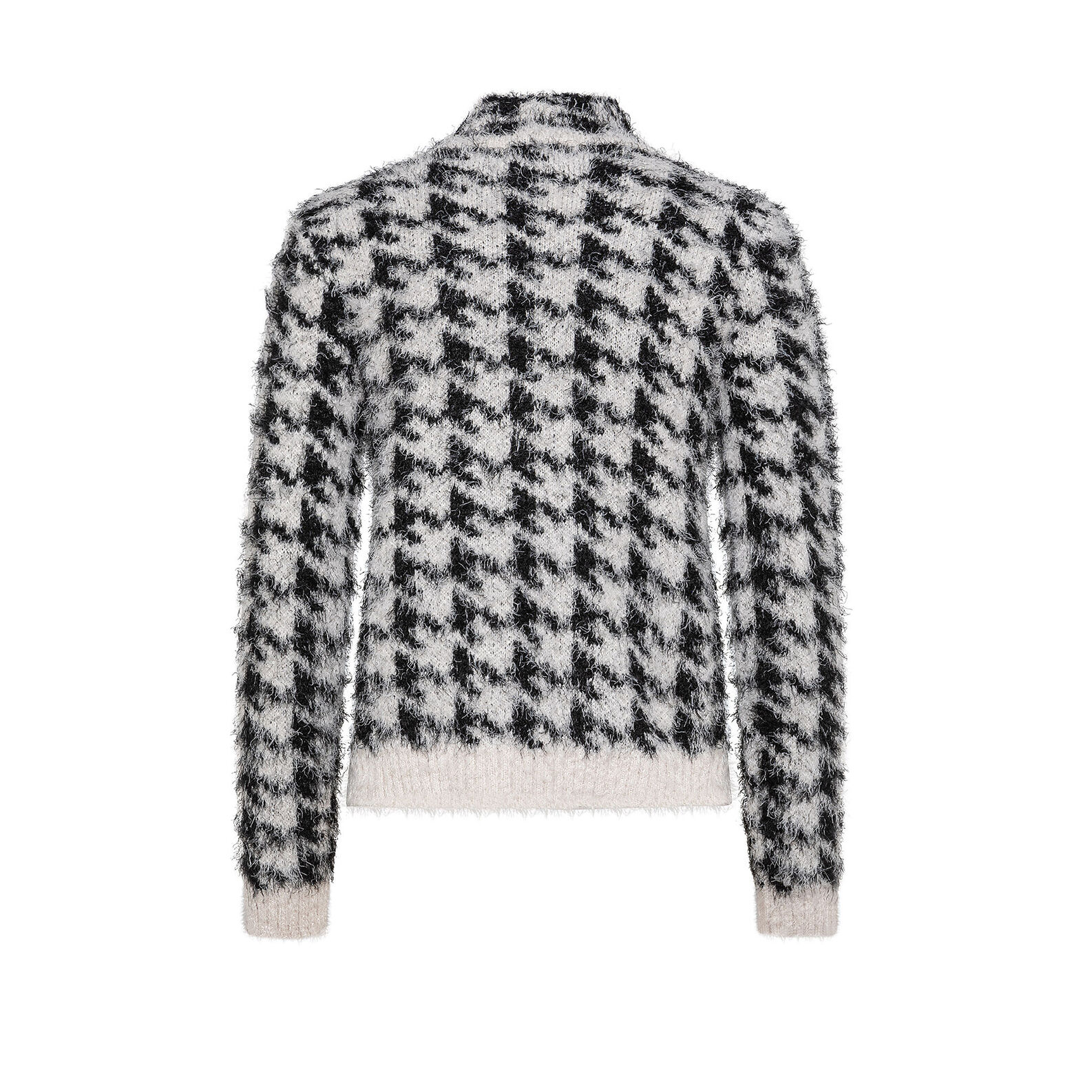 Houndstooth patterned teddy cardigan