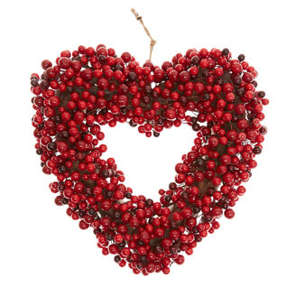 Heart-shaped wreath with red berries