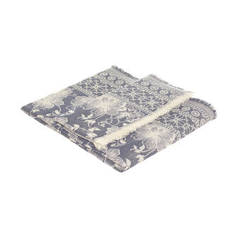 100% cotton jacquard throw with flowers