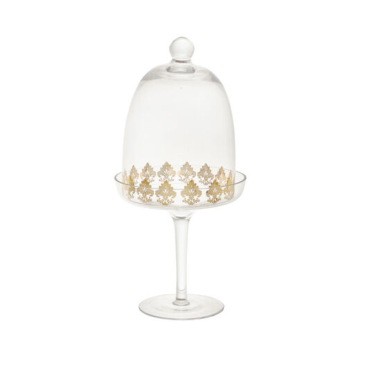 Glass cake stand with gold decoration