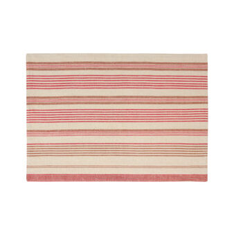 Striped linen and cotton table mat