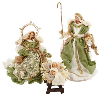 Hand-made Holy family in green garments