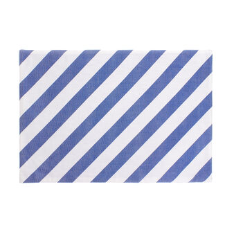 Table mat in 100% cotton with diagonal stripes