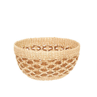 Abaca basket with two-tone weaving