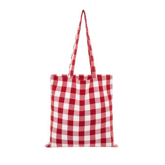 Set of 2 check tea cloths and bag in 100% cotton