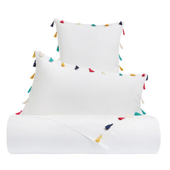 Flat sheet in cotton percale with tassels