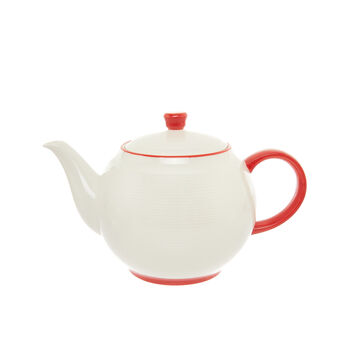 Teapot in new bone China with red stripe