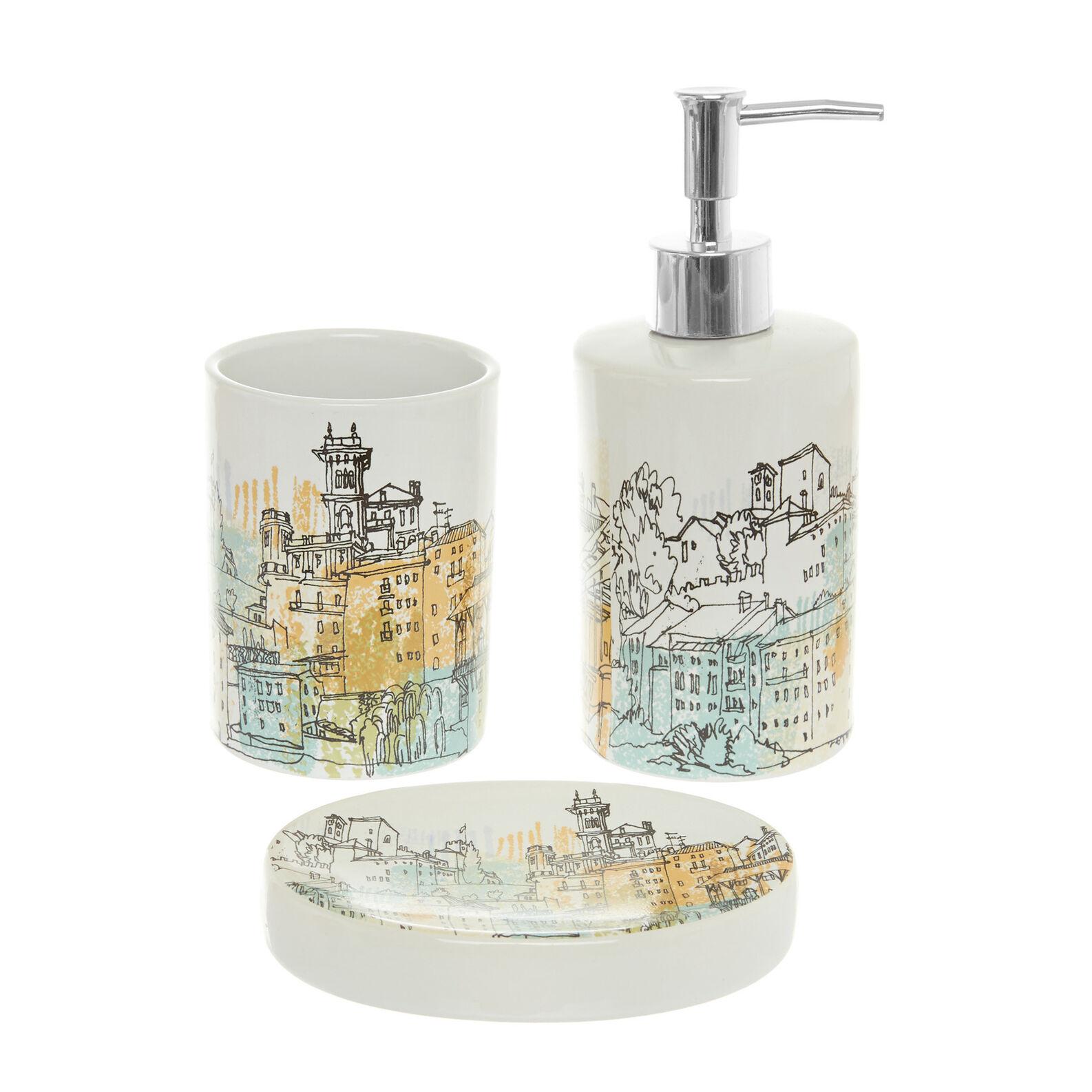Set of 3 ceramic bathroom accessories with Paris motif