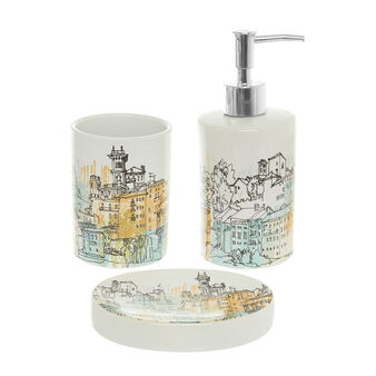 Set of 3 ceramic bathroom accessories with Paris motif