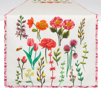 100% cotton table runner with flowers embroidery